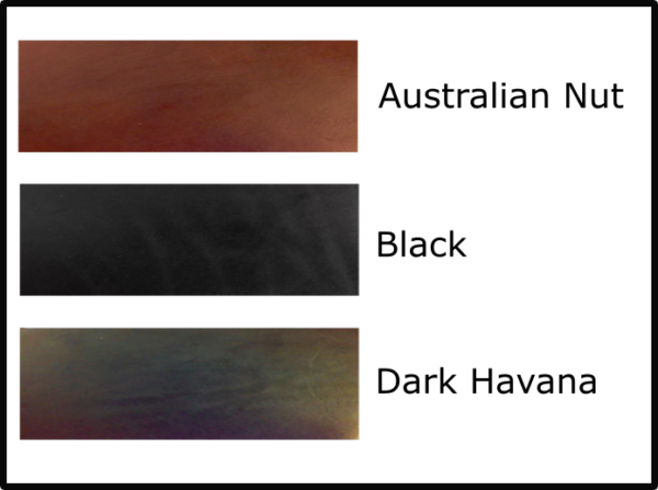 Available belt leather colours (black, australian nut and dark havana)