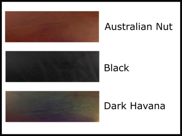 Available belt leather colours (black, australian nut and dark havana)