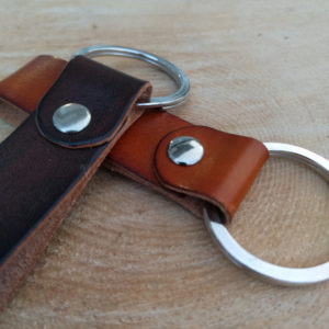 Large leather keychain with large split ring