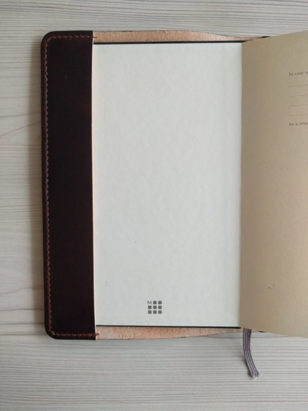 Moleskine notebook holder, handmade in leather - inside front view