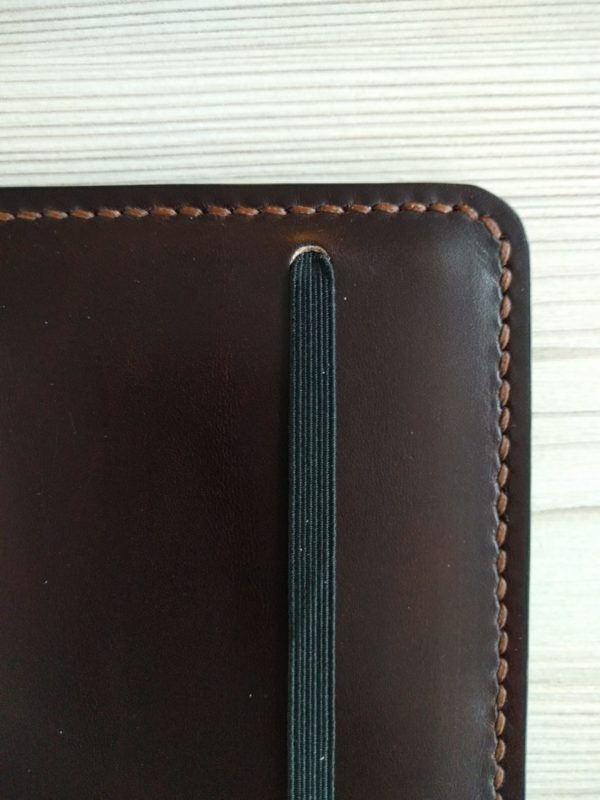 Moleskine notebook holder, handmade in leather - close up stitching view