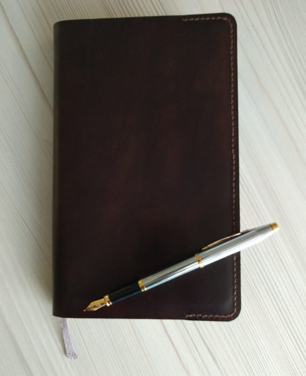 Moleskine notebook holder, handmade in leather - front view