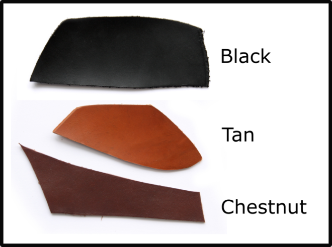 Available leather colours (black, tan and chestnut)