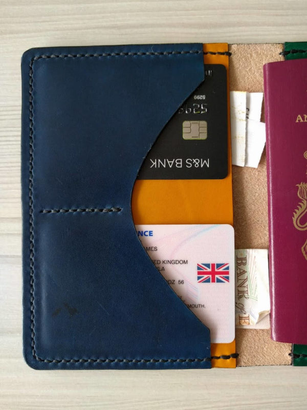 Handmade leather passport holder. Available in multiple or single colours.