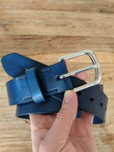 Handmade and hand dyed blue leather belt